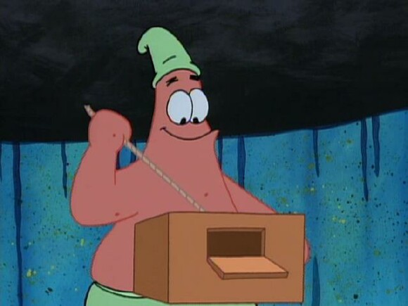 Little does Spongebob know, that the string opens a secret compartment inside the box that contains an embarrassing photo of him at the Christmas party!
